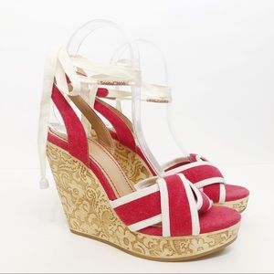 See by Chloe Carved Wooden Lace Up Wedge